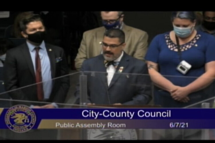 Council members returned to the meeting in person. (Jill Sheridan WFYI)