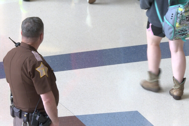 Schools across the country began using resource officers in the 1950s, with school-based policing efforts growing increasingly popular in the aftermath of school shootings. (Jeanie Lindsay/IPB News)