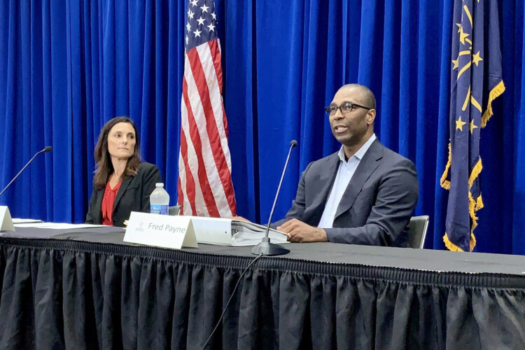 Fred Payne and Gina Ashley from the Indiana Department of Workforce Development held a news conference Friday. (Brandon Smith/IPB News)