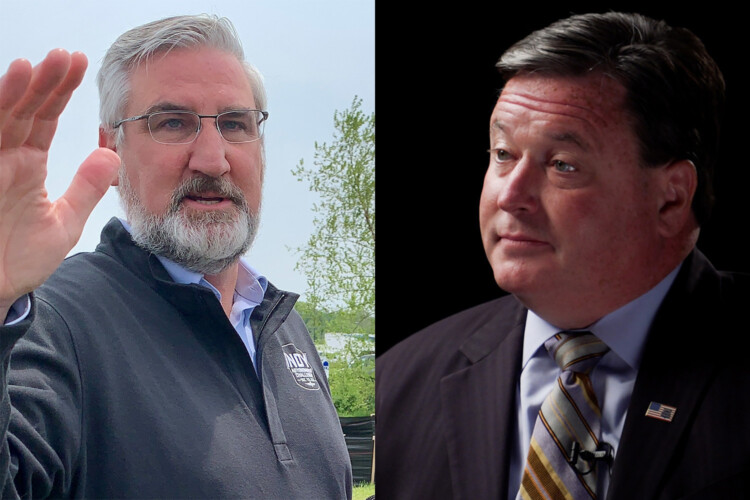 Gov. Eric Holcomb, left, secured an initial victory in the ongoing court battle between Holcomb, Attorney General Todd Rokita, right, and the Indiana General Assembly. (Brandon Smith and Alan Mbathi/IPB News)