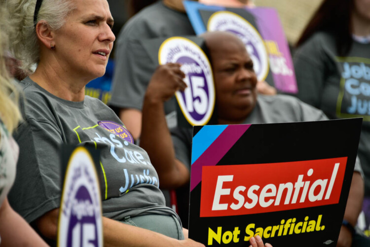 SEIU union members rally outside their hall in Merrillville to advocate for a $15 an hour minimum wage in Indiana. (Justin Hicks/IPB News)
