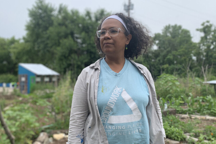 Phyllis Boyd, the executive director of Groundwork Indy, does not shy away from digging into the soil with her hands to teach the youth. She was a landscape architect and urban designer focused on sustainable design and planning.