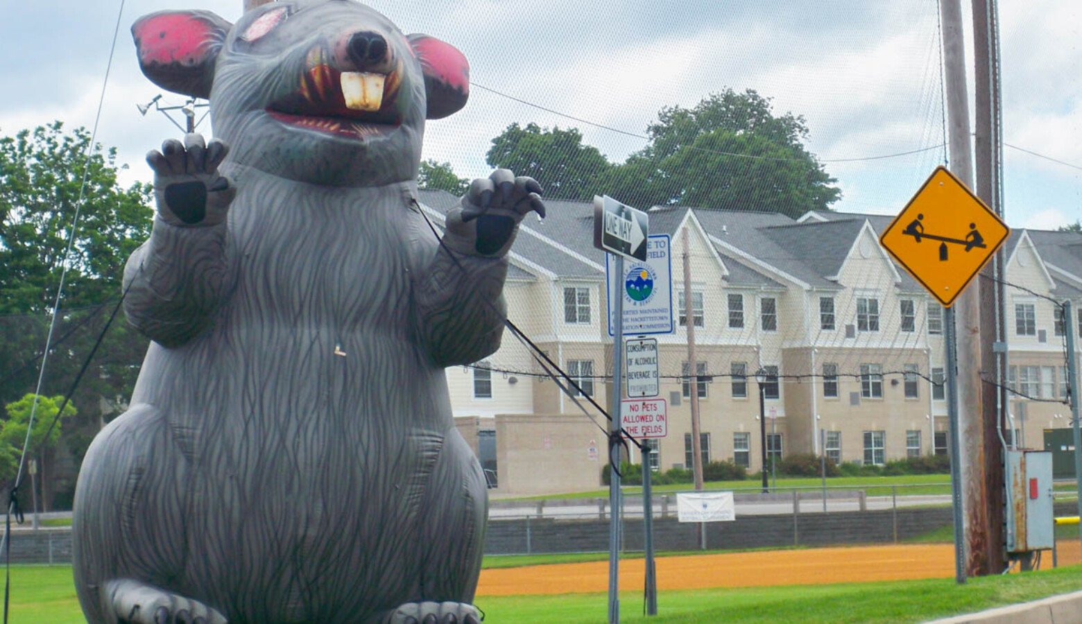 An inflatable rat in Hackettstown, New Jersey similar to the one used in an Elkhart demonstration. (Erik Anderson/Wikimedia Commons)