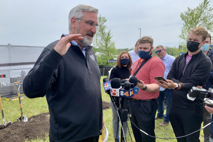 The average number of new COVID-19 cases is nearly triple what it was a month ago, the biggest increase since April 2020. Holcomb did not reimpose COVID-19 restrictions, and said the situation is very different. (Brandon Smith/IPB News)
